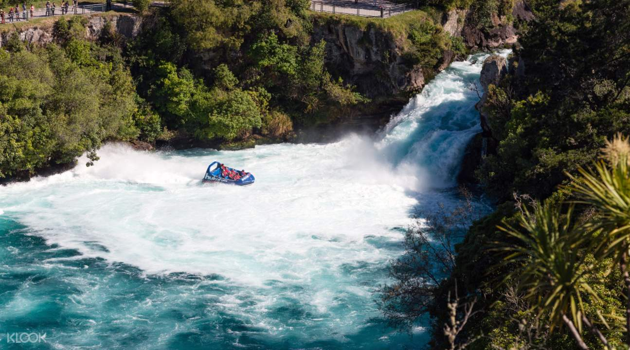 Extreme jet boat ride in Huka Falls